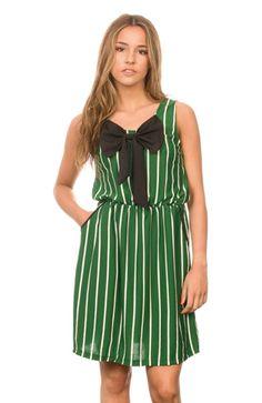Vestido Compañía Fantástica. Verde con gran lazo negro. #boho #chic - spring-summer collection. #elvestidordechloe