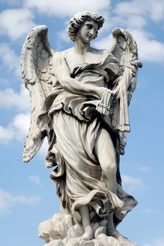 """Rome. Ponte Sant'Angelo - Lazzaro Morelli's The Scourge, with the inscription """"In flagella paratus sum"""" (""""I am ready for the whip"""", Psalms 38:18). (Author: Marie-Lan Nguyen)"""