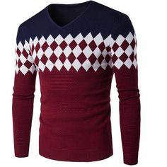 18f59cba8 T-bird 2017 Male New Brand Sweaters Stylish Lattice Knitted Men Long Sleeve  Sweater Men
