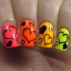 Having short nails is extremely practical. The problem is so many nail art and manicure designs that you'll find online Super Cute Nails, Great Nails, Fun Nails, Fabulous Nails, Nail Polish Designs, Nail Art Designs, Valentine Nail Art, Valentine Hearts, Heart Nail Art