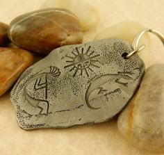 Native American Petrogyph double sided Pewter Keychain, Kokopelli, Bison, Eagle