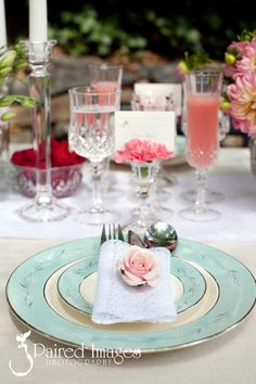 Love the teal vintage place settings from ~ a Pink, Teal, & Tangerine Bridal Shower Inspiration from DBI Events & Little Bird Creative