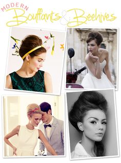 Bouffants  beehives, loving the modern take on this 50's vintage Mad Men hairstyle, great look for wedding day!