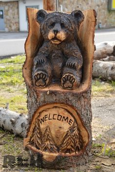 Holzkunst bears - RLH Wood Sculptures Buying Children's Clothing Online Article Body: Buying childre Woodworking Table Plans, Awesome Woodworking Ideas, Woodworking Projects That Sell, Woodworking For Kids, Woodworking Logo, Woodworking Workshop, Woodworking Crafts, Woodworking Organization, Woodworking Basics