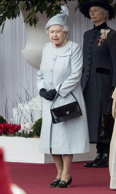 Queen Elizabeth II outside Windsor Castle