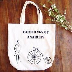 The Penny Farthing's toughest bikie gang. Hand painted tote by Grafeeq Painted Bags, Hand Painted, Uni Bag, Cotton Tote Bags, Reusable Tote Bags, Penny Farthing, Gym Gear, Anarchy, Shopping Bag