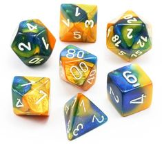 Roll large with Gemini Dice (Masquerade Yellow and Blue). This RPG dice set has all...