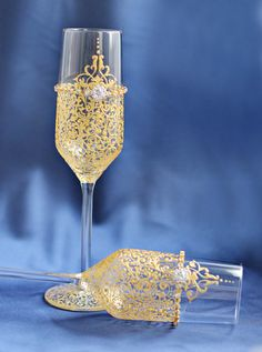 Gold #Wedding champagne flutes Toasting flutes Wedding Glasses The great Gatsby Engagement glasses Anniversary gift Wedding reception Set of 2.   This listing is for a DEPOS... #ideas #inspiration #instagram #bridal #picoftheday #wedding