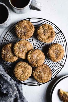 Soft and pillowy gluten-free snickerdoodles with a slightly crisp cinnamon-sugar coating. Perfect for your holiday cookie plate!