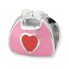 Sterling Silver s Pink/red Enameled Purse Bead by Reflection Beads * Click image to review more details. (This is an affiliate link) #Jewelry