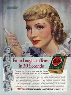 1938, Claudette Colbert endorsing Lucky Strike cigarettes, Radio Stars Magazine