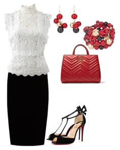 """Work Day"" by gigof4 on Polyvore featuring Christian Louboutin, Jupe By Jackie, Oscar de la Renta, Gucci and Chico's"