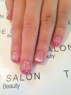Pretty Polka Dot French Manicure #nails #nailart  #polkadot #pinknails #shellac #glitter #valentinesnails #valentinesday #frenchmanicure #french #prettynails #pretty