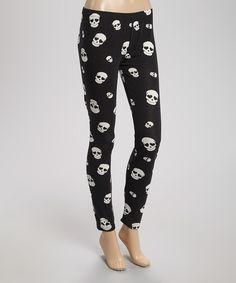 Look at this #zulilyfind! Black & White Heart Skulls Leggings - Women by Capelli New York #zulilyfinds