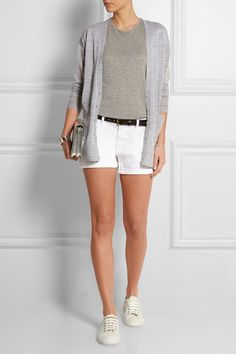 Light-gray cashmere Button fastenings through front cashmere Dry clean Designer color: Heather Ash Outfits With Grey Cardigan, White Jeans, White Shorts, J Crew Outfits, Cashmere Cardigan, Top Designer Brands, Fashion Online, Short Dresses, Luxury Fashion