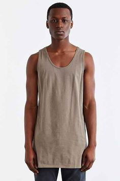 Feathers Long Vent Tank Top - Urban Outfitters