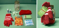 "Create IT:  Mason Jar Gifts!  Create a ""Winter Survival Kit"" complete with gift tag!"