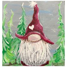 Nordic gnome, Scandinavian gnome, Christmas elf - Painting Ideas On Canvas Santa Paintings, Christmas Paintings On Canvas, Christmas Gnome, Christmas Crafts, Swedish Christmas, Hand Painted Canvas, Canvas Art, Gnome Paint, Scandinavian Gnomes