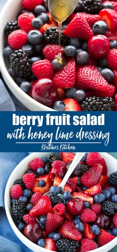 best healthy Berry Fruit Salad Recipe with a light honey lime dressing! - The best healthy Berry Fruit Salad Recipe with a light honey lime dressing! This… The best health -The best healthy Berry Fruit Salad Recipe with a light honey . Summer Salads With Fruit, Fresh Fruit Salad, Berry Salad, Fruit Salad Recipes, Salad Recipes For Dinner, Breakfast Fruit Salad, Berry Fruit Salads, Cherry Fruit Salad Recipe, Easy Fruit Salad