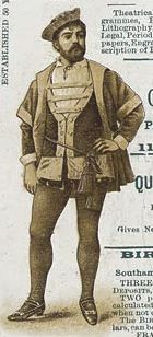 """Illustration of Courtice Pounds as Colonel Fairfax from a souvenir program from the original 1888 production of """"The Yeomen of the Guard."""" Possibly rendered by artist Alice Mary Havers (Morgan) from a photograph?"""