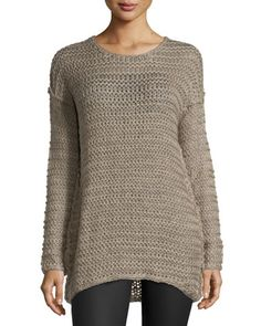 Open-Stitch Crewneck Sweater, Dust Pink by Line at Neiman Marcus Last Call.