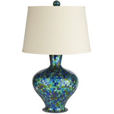 Pier 1 Emerald Blue Mosaic Lamp is fit for a decorating genie