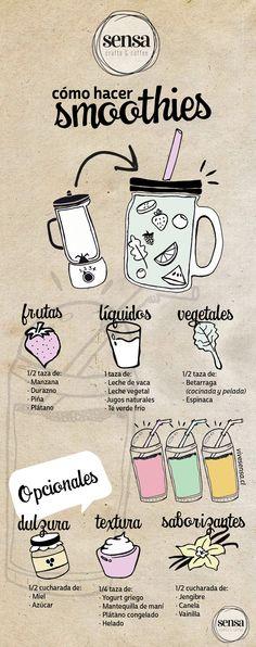 Sensa: cómo hacer smoothies. Desde 3 ingredientes, puedes hacer estos nutritivos batidos para ti y tu familia. #smoothies #batidos #cocina