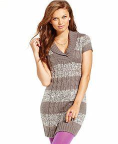 Pink Rose Juniors Dress, Short Sleeve Cable-Knit Sweater - Juniors Dresses - Macy's