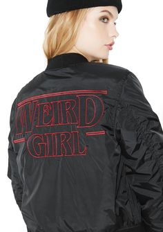 """Killstar Weird Girl MA1 Bomber Jacket cuz you're into the stranger thangs in life. This sikk black bomber has """"WEIRD GIRL"""" embroidered on the front N' back and we can think of Eleven reasons why."""