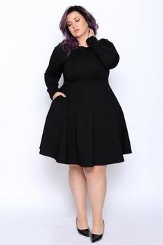 With a simplistic yet attractive fit and flare design, this plus size dress will be a timeless piece you can wear over and over again. Designed to keep its shape, this classically chic plus size dress was made of Roma… Continue Reading → Plus Size Black Dresses, Plus Size Outfits, Plus Size Fashion For Women, Plus Size Womens Clothing, Mode Plus, Looks Plus Size, Curvy Dress, Curvy Girl Fashion, Women's Fashion