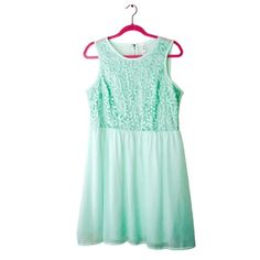 "Gorgeous Xhilaration Mint Embroidered Dress This gorgeous dress from Xhilaration features a chiffon like skirt, floral embroidered detail on top. Zippered back. Has lining in the skirt part. Please note that this dress does not stretch and may fit a Junior's Large for a more comfortable fit. I'm a 12/14, and this does not zip up all the way on me. 40"" bust, 35"" Waist. Only flaw is a tiny snag near back zipper at bottom. Barely noticeable. Xhilaration Dresses Midi"