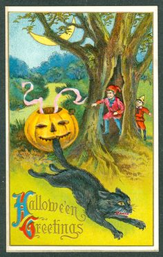 Vintage Embossed Jackson Halloween Postcard JOL Biting Cats Tail Two Boys Moon | eBay