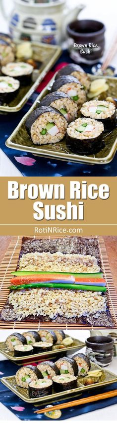 These Brown Rice Sushi rolls with cucumber, asparagus, and crab sticks are a healthier alternative to regular white rice sushi. They are just as tasty. | RotiNRice.com