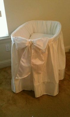 Upcycled from a classic wicker bassinet. I made this cover fit for a princess. My princess that is. LOVE IT!