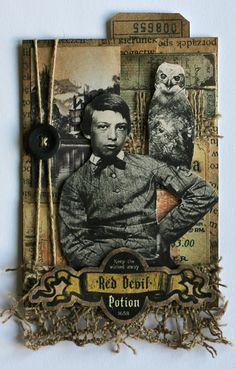 From Anna Sokolowska in Łódź, Poland. Atc Cards, Card Tags, Journal Cards, Altered Books, Photomontage, Masculine Art, Art Trading Cards, Artist Card, Tags