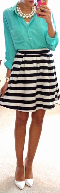 Outfit Posts: outfit post: teal camp shirt, navy & white striped skirt, white pumps. Inspiration: Hello, Gorgeous!