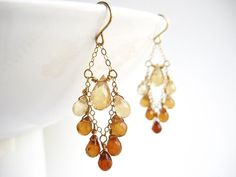 Gold Ombre Earrings  Amber Yellow Brown classic by SerasiJewelry, $55.99