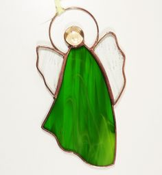 Stained Glass Suncatcher Angel inch tall, blue and clear color glass, copper color metal, handmade Stained Glass Angel, Stained Glass Suncatchers, Copper Color, Tiffany, Angels, Christmas Ornaments, Holiday Decor, Metal, Green