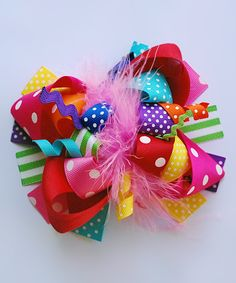 Take a look at this Shocking Pink Rainbow Funky & Fun Hair Bow today!