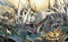 Белый дракон с широко открытой пастью - авы, фото, аватары