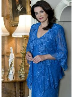 Hottest Blue Satin V-Neck Mother of The Bride Dress