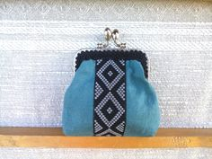 30th birthday gift for her, kiss lock purse, handmade vegan purse, snake skin purse, lipstick purse, small cosmetic purse, blue money pouch by LindenHandCrafts on Etsy