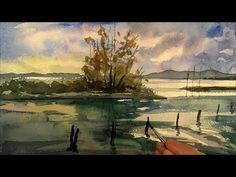 ▶ Lake Painting, Speed Painting, Watercolor, Time Lapse - YouTube