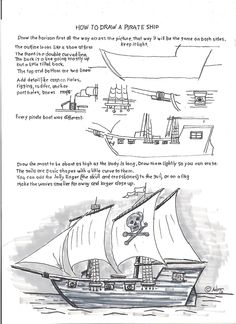 How to Draw Worksheets for The Young Artist: How to Draw a Pirate Ship. Easy Wor… How to Draw Worksheets for The Young Artist: How to Draw a Pirate Ship. Easy Art Lessons, Drawing Lessons, Drawing Techniques, Pirate Ship Drawing, Art Handouts, Art Worksheets, Poses References, Teaching Art, Op Art