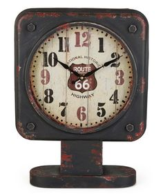 This Black Square 'Route 66' Table Clock is perfect! #zulilyfinds