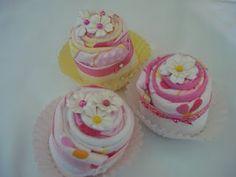 burp cloth cupcakes
