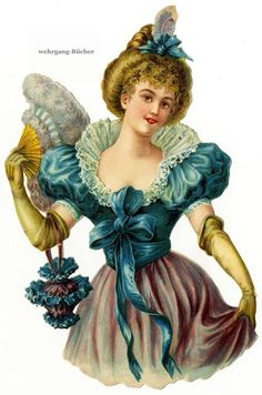 Vintage Victorian die cut paper scrap, Lady with a fan, from c. 1880