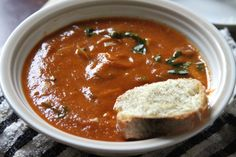 Tomato and Roasted Garlic Soup with Cheese Toasts