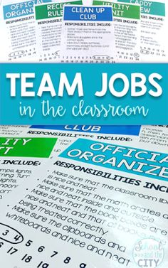 Team jobs in the classroom are a quick, simple, and easy to manage alternative to a job chart. Customize the crews and colors to suit your elementary classroom. {School and the City}