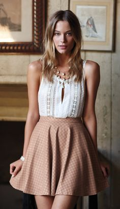 Sugared Lattice Blouse & Astral Swing Skirt from Such a gorgeous outfit, too bad Anthropologie is an overpriced asshole. Look Fashion, Fashion Beauty, Womens Fashion, Fashion 2014, Fashion Hair, Skirt Fashion, Style Feminin, Feminine Style, Summer Outfits